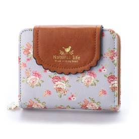 花柄三つ折りミニ財布 (ブルー)