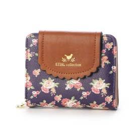 花柄三つ折りミニ財布 (ネイビー)