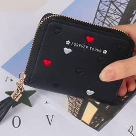 ハート柄刺繍PUレザー短財布 (ブラック)