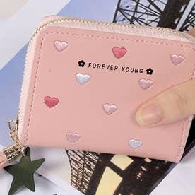 ハート柄刺繍PUレザー短財布 (ピンク)