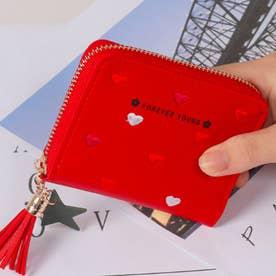 ハート柄刺繍PUレザー短財布 (レッド)