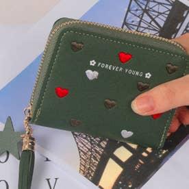 ハート柄刺繍PUレザー短財布 (グリーン)