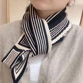 アニマル柄スカーフ風ニットマフラー (幾何学柄ブラック)