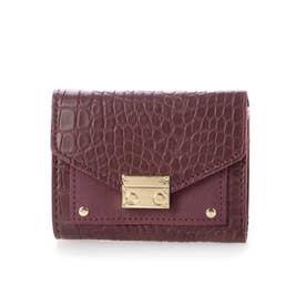 クロコダイル型押しミニ財布 (ワインレッド)
