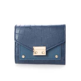 クロコダイル型押しミニ財布 (ブルー)