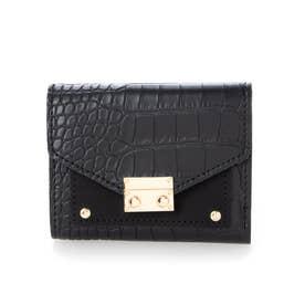 クロコダイル型押しミニ財布 (ブラック)