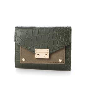 クロコダイル型押しミニ財布 (グリーン)