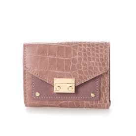 クロコダイル型押しミニ財布 (ピンク)