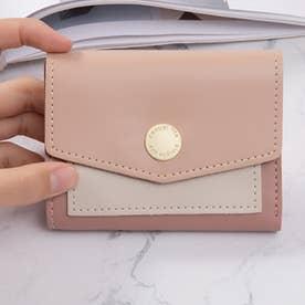 バイカラーコンパクト財布 (ピンク)