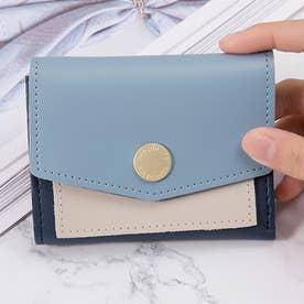 バイカラーコンパクト財布 (ブルー)