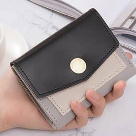 バイカラーコンパクト財布 (ブラック)