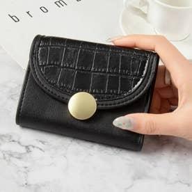 クロコダイル型押し三つ折りミニ財布 (ブラック)