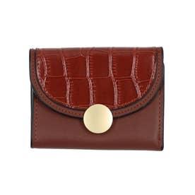 クロコダイル型押し三つ折りミニ財布 (コーヒー)