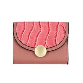 クロコダイル型押し三つ折りミニ財布 (ピンク)