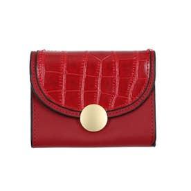 クロコダイル型押し三つ折りミニ財布 (レッド)