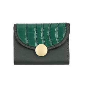 クロコダイル型押し三つ折りミニ財布 (グリーン)