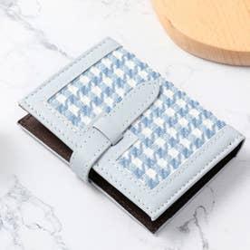 千鳥格子柄二つ折りカードウォレット (ブルー)