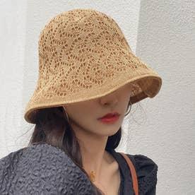 リバーシブルかぎ針編みハット (カーキ)