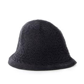 リバーシブルかぎ針編みハット (ブラック)