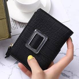 クロコダイル型押し二つ折りミニ財布 (ブラック)