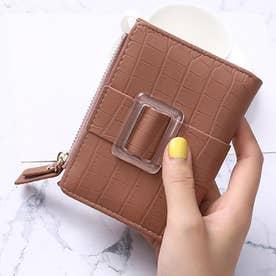クロコダイル型押し二つ折りミニ財布 (ピンク)