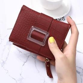 クロコダイル型押し二つ折りミニ財布 (レッド)