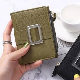 クロコダイル型押し二つ折りミニ財布 (グリーン)