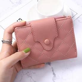 キルティング二つ折りミニ財布 (ピンク)