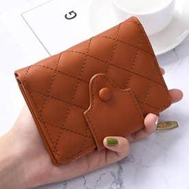 キルティング二つ折りミニ財布 (ブラウン)