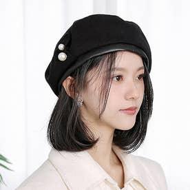 パール付きベレー帽 (ブラック)