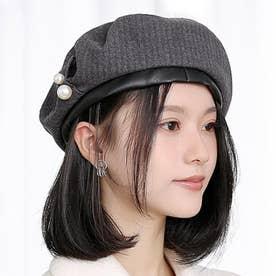 パール付きベレー帽 (グレー)