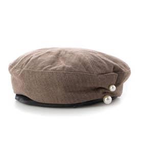 パール付きベレー帽 (あずき色)