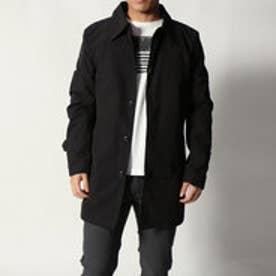 防風ストレッチステンカラーコート (ブラック)