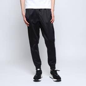 トリコット1本ライン裾リブスリムジャージパンツ (ブラック×ホワイト)