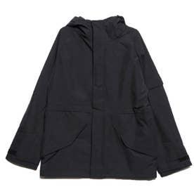 防風撥水加工ストレッチミリタリージャケット (ブラック)