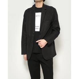 綿麻長袖テーラードジャケット (ブラック)