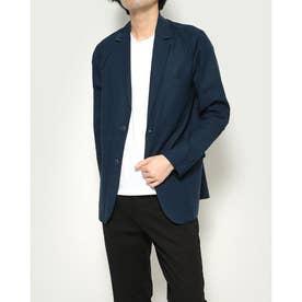 綿麻長袖テーラードジャケット (ネイビー)