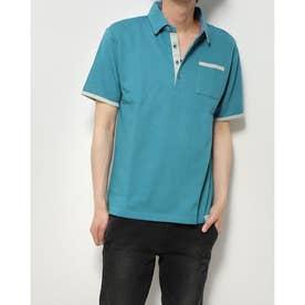 ポンチ裏ストライプ配色ポロシャツ (ターコイズ)