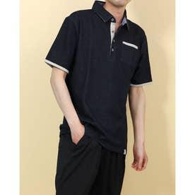 ポンチ裏ストライプ配色ポロシャツ (ネイビー)