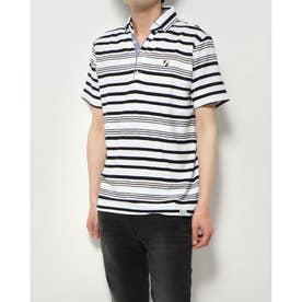 ボーダー1ポイント刺繍スキッパーポロシャツ (オフ)
