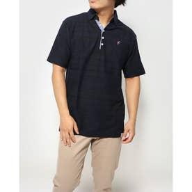 ボーダー1ポイント刺繍スキッパーポロシャツ (ネイビー)
