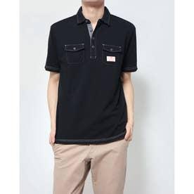 カノコ配色ステッチワークポロシャツ (ブラック)
