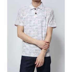 タックボーダー裏プリント1ポイント刺繍ポロシャツ (ピンク)