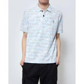 タックボーダー裏プリント1ポイント刺繍ポロシャツ (サックス)