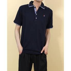 カットサッカーワンポイント刺繍2枚衿ポロシャツ (ネイビー)