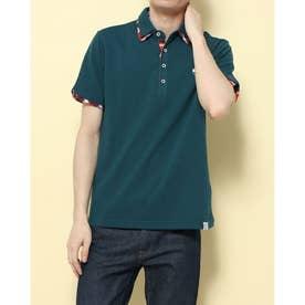 カノコ1ポイント刺繍2枚衿ポロシャツ (ターコイズ)