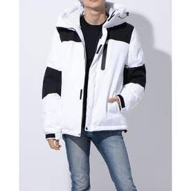 ストレッチ中綿フードジャケット (ホワイト)