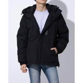 ストレッチ中綿フードジャケット (ブラック)