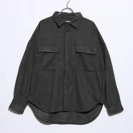 起毛無地チェック柄ビッグシルエットCPOシャツジャケット (無地カーキ)