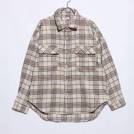 起毛無地チェック柄ビッグシルエットCPOシャツジャケット (チェック柄ベージュ)